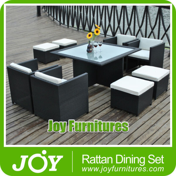 Rattan Dining Set Rattan Garden Furniture Outdoor Patio 9 Piece Cube Set With Glass Table Waterproof Furniture Sets