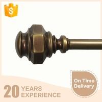 high quality button shape copper finish decorative metal curtain pole finials