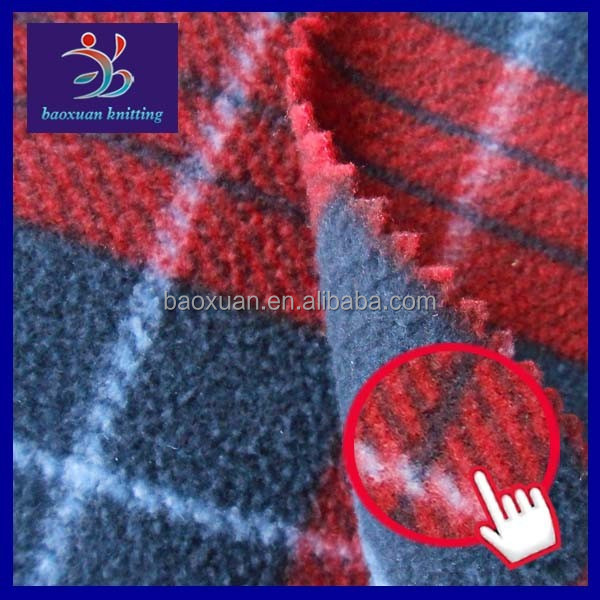 Polyester fdy polar fleece wholesale plaid fabric