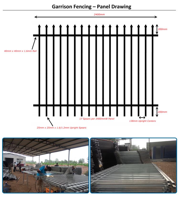 2400 mm * 1800 mm Aluminium Fencing Panels/ Steel fence/ Perimeter fence