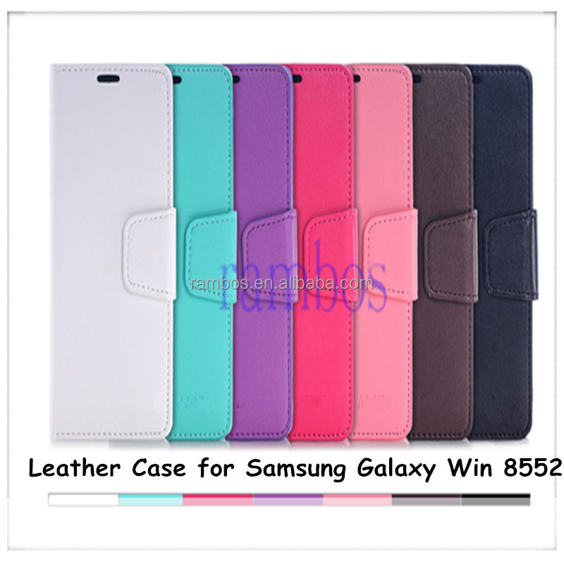 Top Quality PU Leather Wallet Magnetic Flip Stand Phone Case Cover with Credit Card Slots for Samsung Galaxy Win i8552 8552