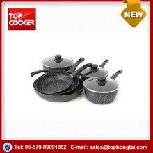 7pcs aluminum forged marble coated parini cookware cooking set
