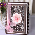 Pink Lace Ribbon & Flower Accessory Wedding Invitation Card Laser Cut