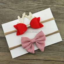 Pretty Festival Christmas Bows Hair Girl Hairband Wholesale Baby Hair Accessories