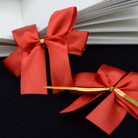 factory supply Stretch Loop Type Red Satin Ribbon Bow For Invitation Gift Pack