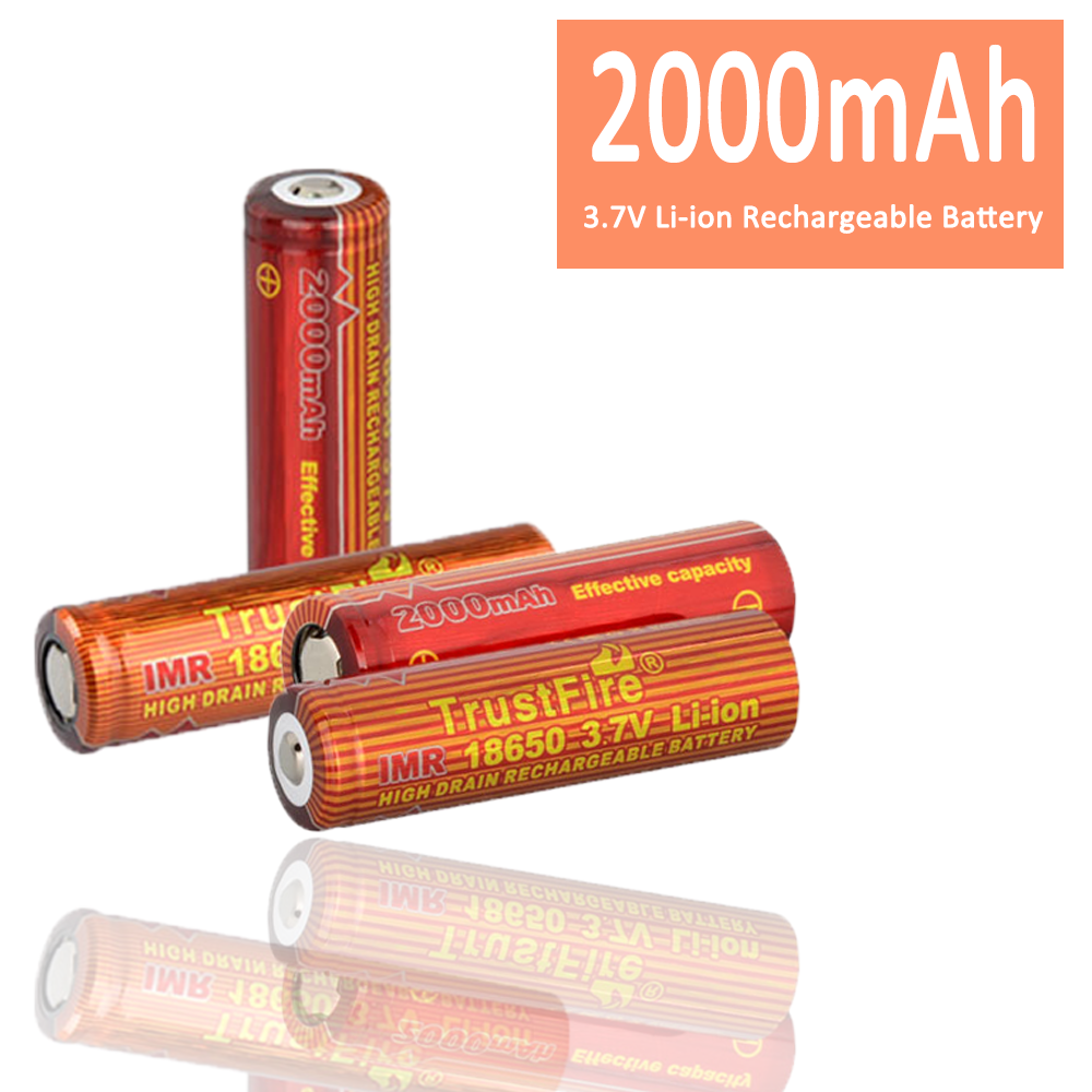 IMR 18650 2000mAh 3.7V High Drain LiMn TrustFire 18650 Rechargeable <strong>Battery</strong> with Button Top