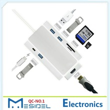 7 in 1 Combo 3 Port USB 3.0 Hub Type C USB 3.1 to 4k x2k HDMI Adapter SD TF Card Reader Charging Port for Macbook Pro