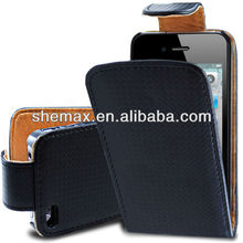 Carbon Fiber Flip cell phone Case PU Leather FOR iphone 4 4G