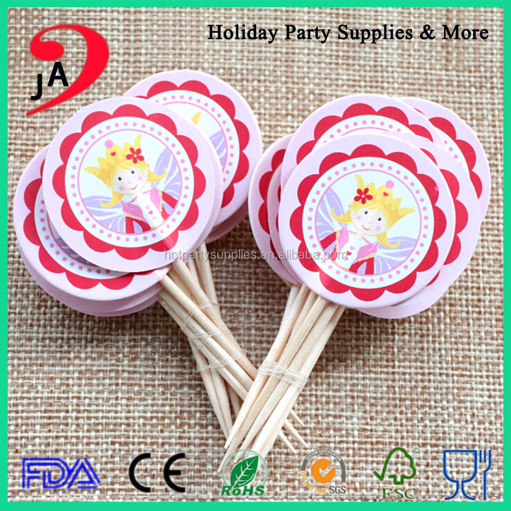Wholesale New Arrive Beautiful Princess Pattern Wooden Toothpick Manufacturing