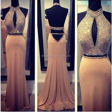 New Chiffon Halter Beaded Prom Dress Sexy Chest Open Fork Eveving Dress 2 Piece Backless Mermaid Dress
