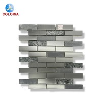 Black Stone Mixed Silver Glossy Tile Kitchen Backsplash Mosaic Art Home Decor Bath Wall