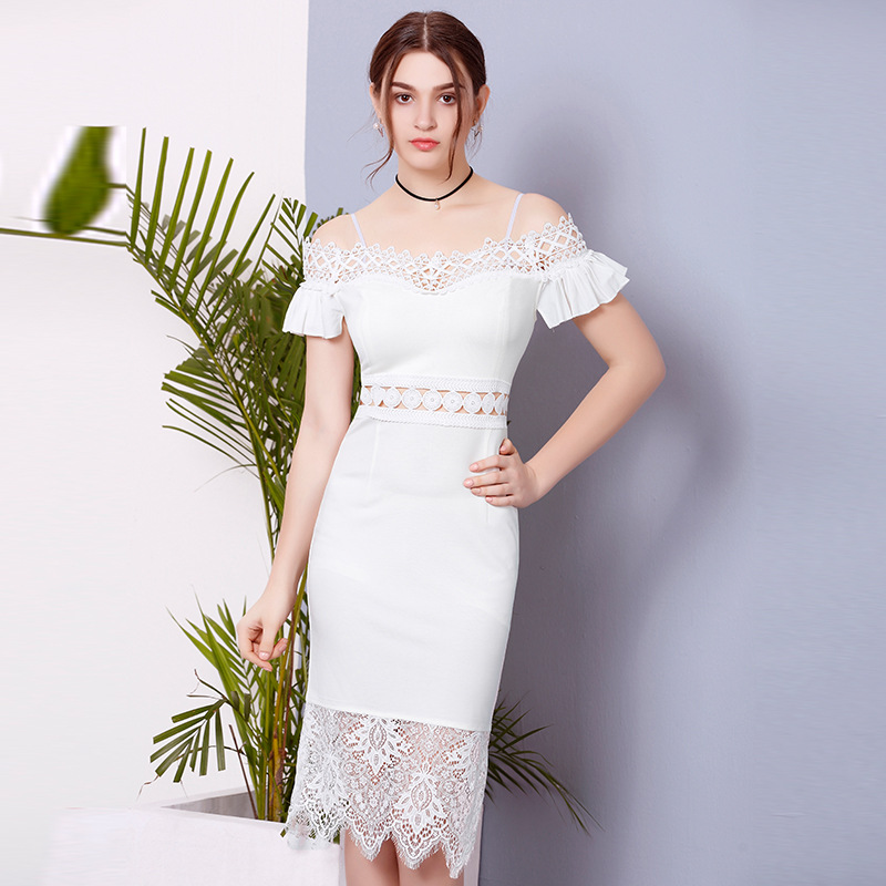 ZH1118E New design women lace hollow slim evening dress sexy off shoulder party dress