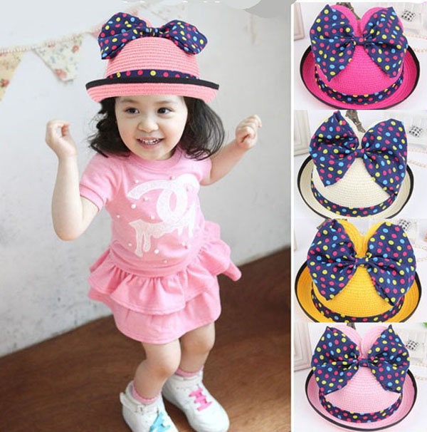 High Quality Toddler Children Kids Girl Summer Sunhat Straw Hat with bow ears