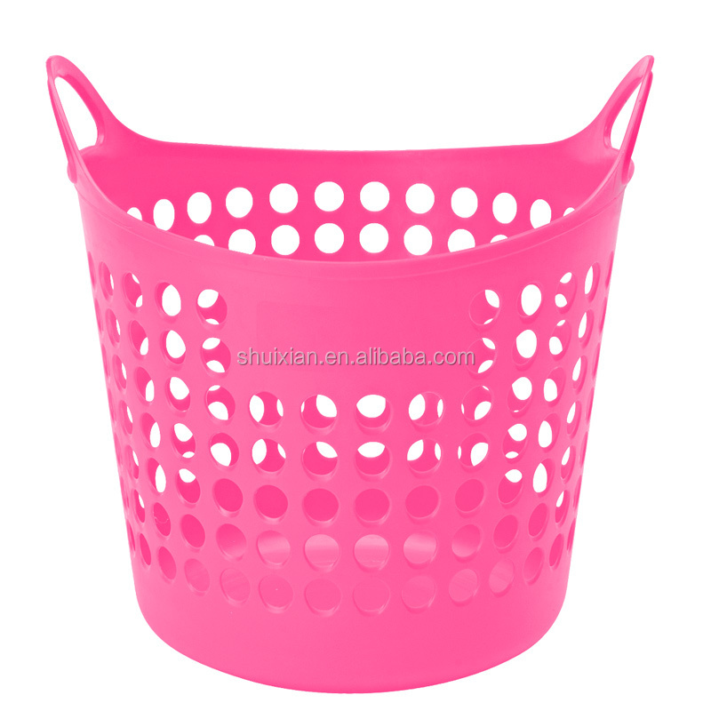 New design good quality colorful cheap soft laundry plastic basket
