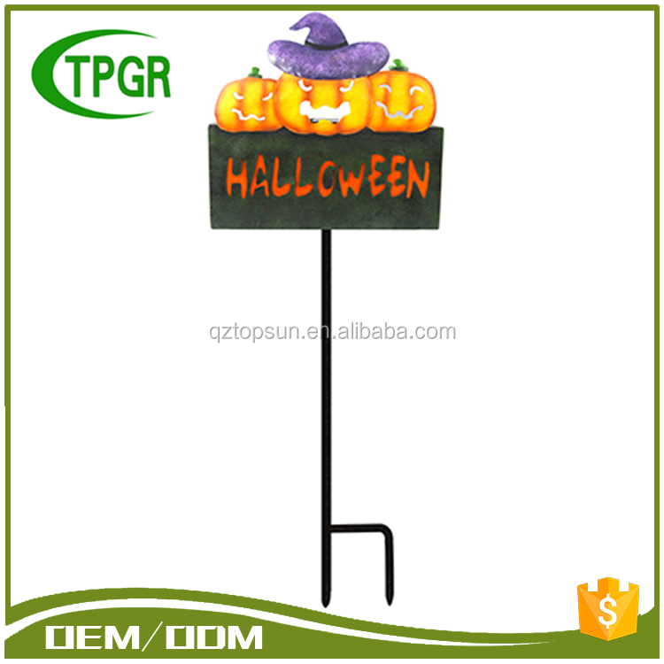 High Quality Metal Pumpkin With Words Halloween Pumpkin Decoration Solar Bird Garden Stakes With Orange Led