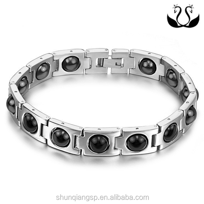 2015 hot sale fashion health Men's set beads cast stainless steel health germanium magnet bracelet
