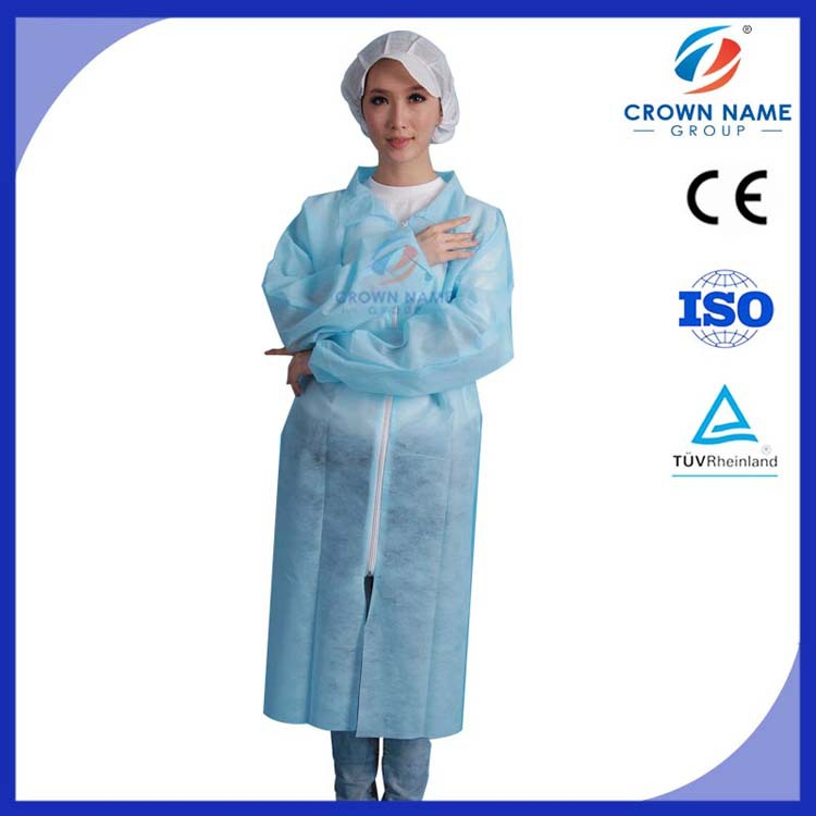 Within Colour-Coded Environment Disposable Nonwoven PP Acid Resistant Lab Coat