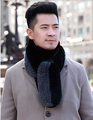 men's black ash color matching striped rabbit fur scarf161206-7