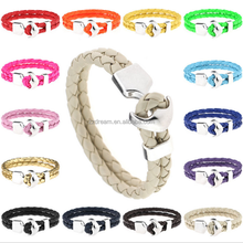 Stainless steel magnetic clasps wrap pu leather bracelet