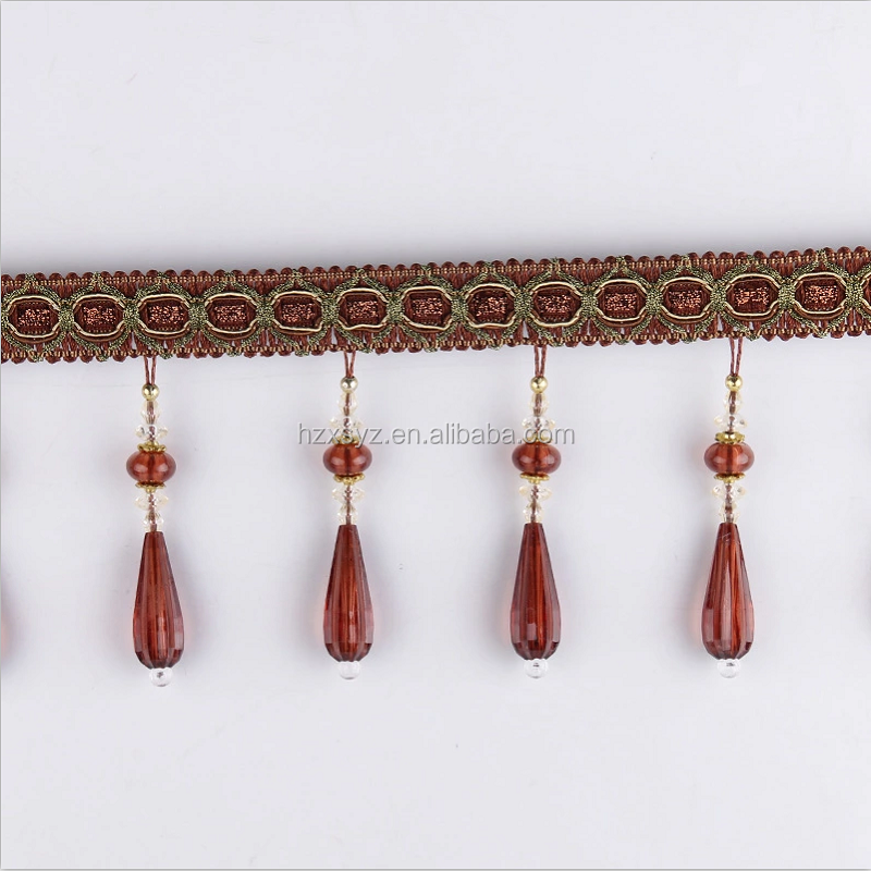 Garment use super quality popular design curtain beads fringe