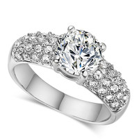 First Class Quality White Gold Finger Rings Multirows CZ Stone Micro Pave Setting Wedding Diamond Rings For Bride