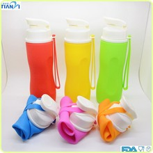 New Products Non-toxic FDA/LFGB Standard Outdoor Sport Bottle Foldable Silicone Water Bottle