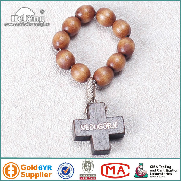catholic brown wood rosary ring