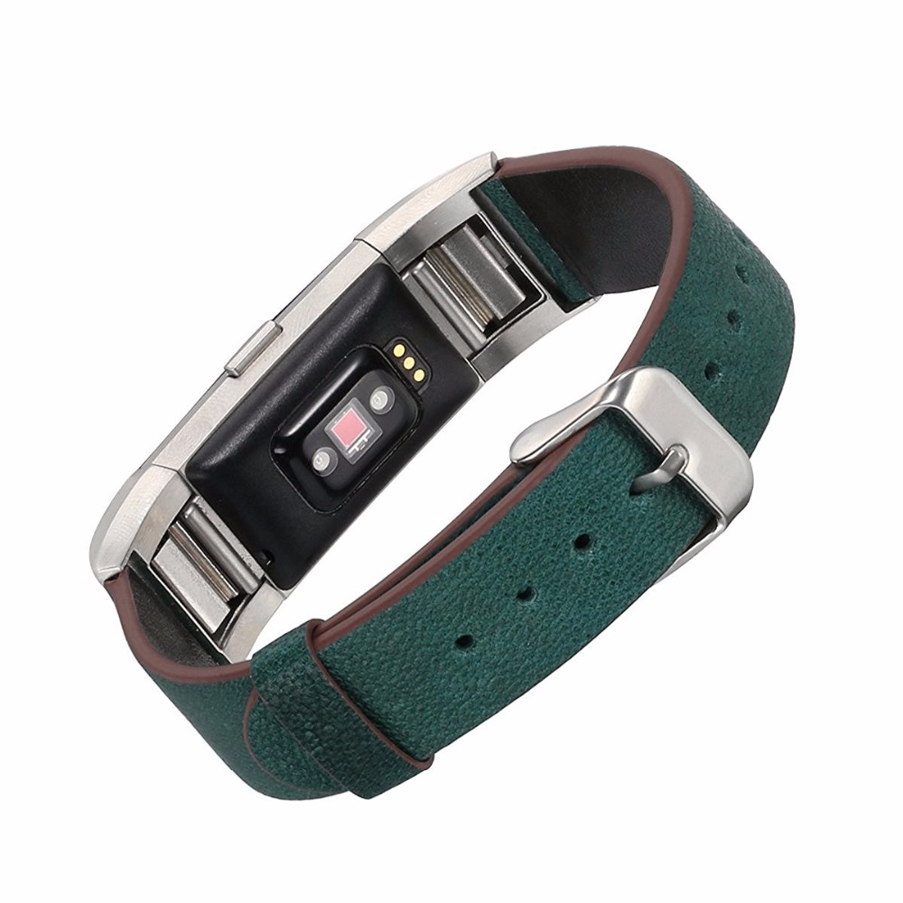 Elegant Design Genuine Leather Watch Strap Adjustbable Wrist Band for Fitbit Charge2