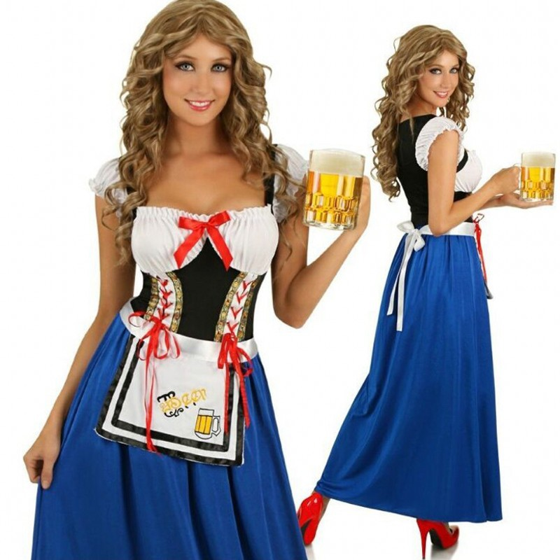 Germany sexy oktoberfest women costumes cosplay fancy blue long dress halloween costumes for women beer festival maid costume