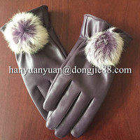 for manufacturer buyer suede fashion winter fur fingerless leather gloves