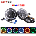 "New arrived 7 inch magic round RGB halo angel eye 7"" daymaker led headlight for Jeep Wrangler"