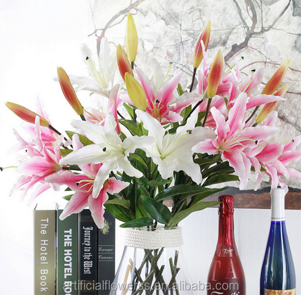 3 heads Real touch Artificial tiger lily pink flower artificial lily for home decor