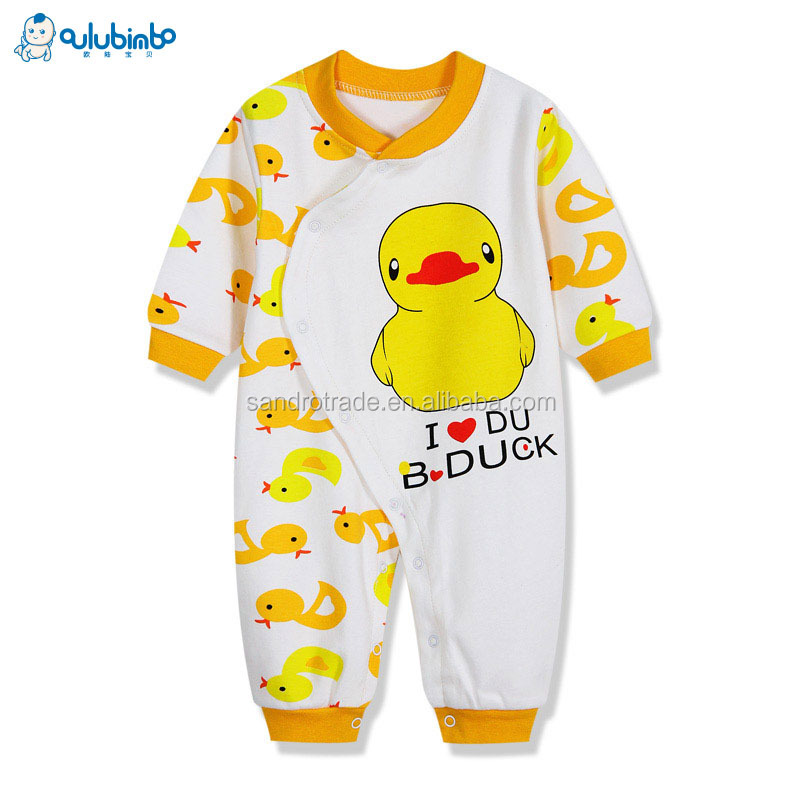 2017 New design baby pajamas organic cotton baby cloths wholesale baby romper