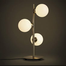 Modern design three glass lampshade brass luminaire table lamp