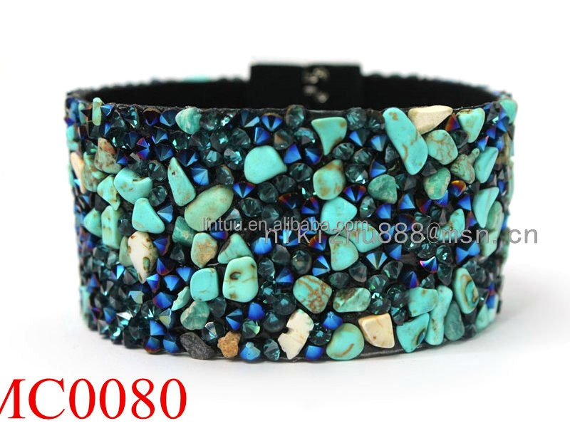 wholesale jewelry new fashion leather bracelet jewelry, turquoise stone copper magnetic bracelet