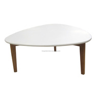 scandinavian solid wood round oak coffee table design with white paint MDF top