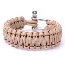 2017 SALE! New Black Color Paracord 550 Survival Bracelet Parachute Cord With Stainless Steel Bow Shackle