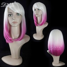 Wholesale ombre wig cheap synthetic hair hot pink purple long bob wigs