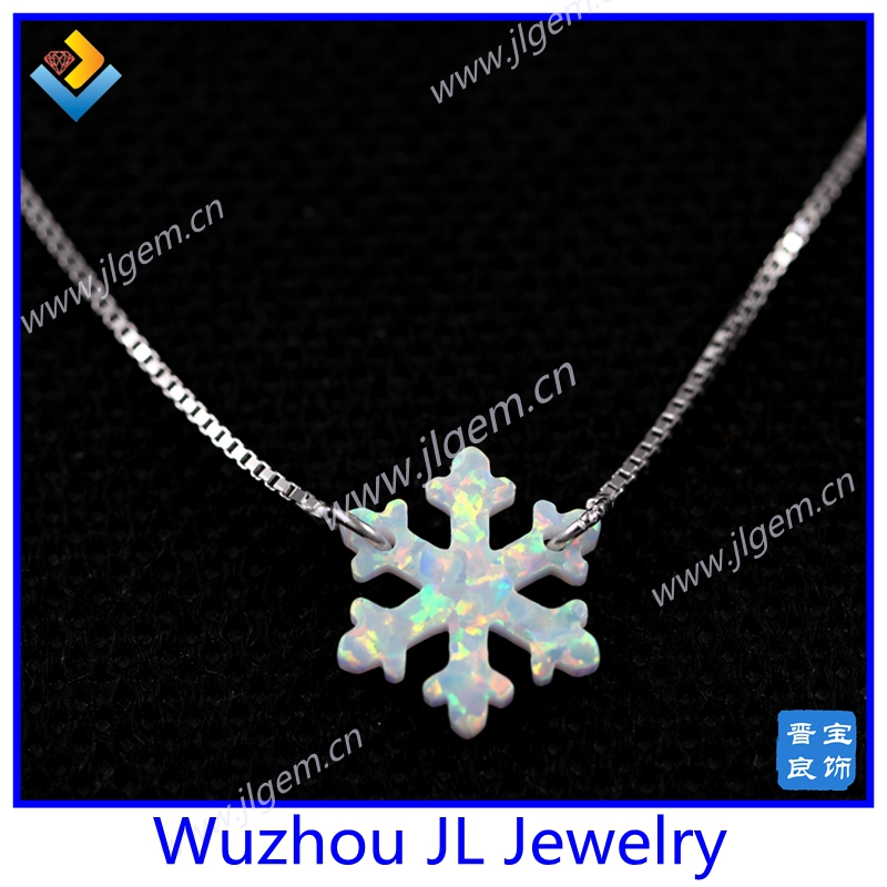 Hot Sale Factory Price 925 Sterling Silver OP17 White 13mm Snowflake Shape Opal Necklace