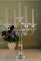 Tall Crystal Floor Standing Candle Holder For Room Decoration