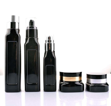 High End Square Shape Black Color Coated Cosmetic Glass Packaging Bottle Jar For Cream Lotion
