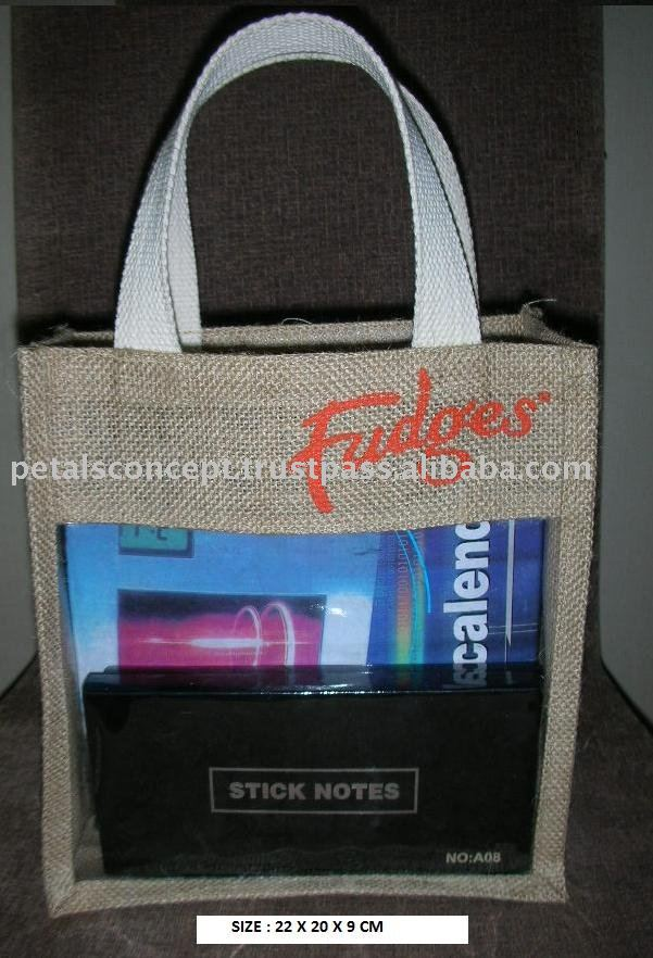 Packing jute bags with cotton web handle & with pvc see through