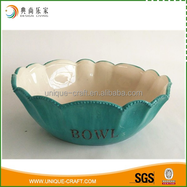 Hot sale exquisite green ceramic soup/salad bowls for dinnerware