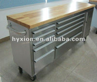 "72"" stainless steel roller chest box/tool box roller cabinet with wheels"