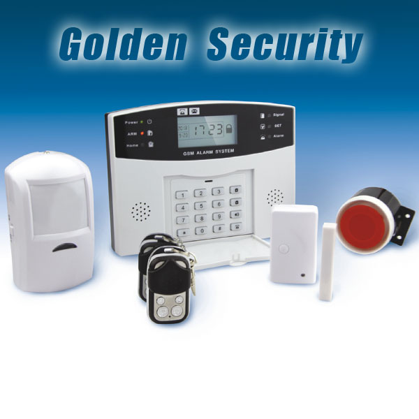 Wireless intelligent security alarm system with GSM sim card network,LCD screen with time clock display