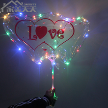 2018 Hot Selling Luminous Light Up Valentine Gift Helium Colorful Led Light String Bobo Balloon Led With Heart