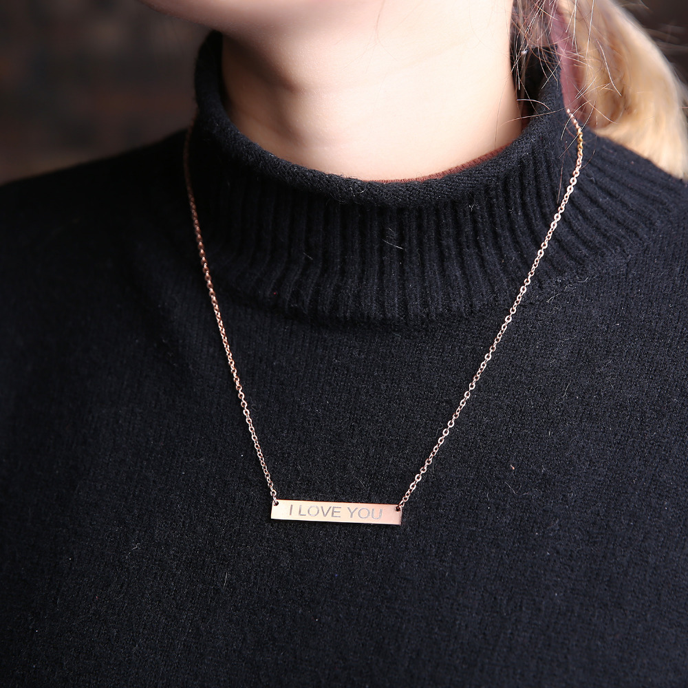 New Personalized Blank Bar Pendant Necklace 3 Colors Stainless Steel Custom Name Plate Necklace Can Engrave Word Letters Jewelry 5