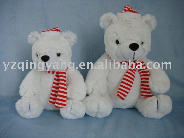plush toy bear with scarf and hat for christmas