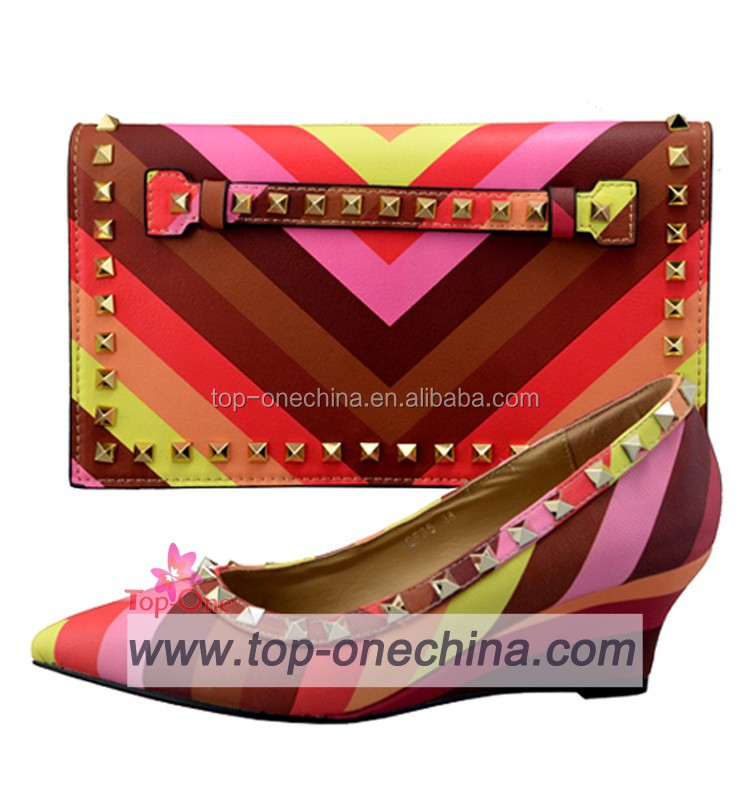 New rainbow shoes and bags/ Italian style wedge shoes with matching bags
