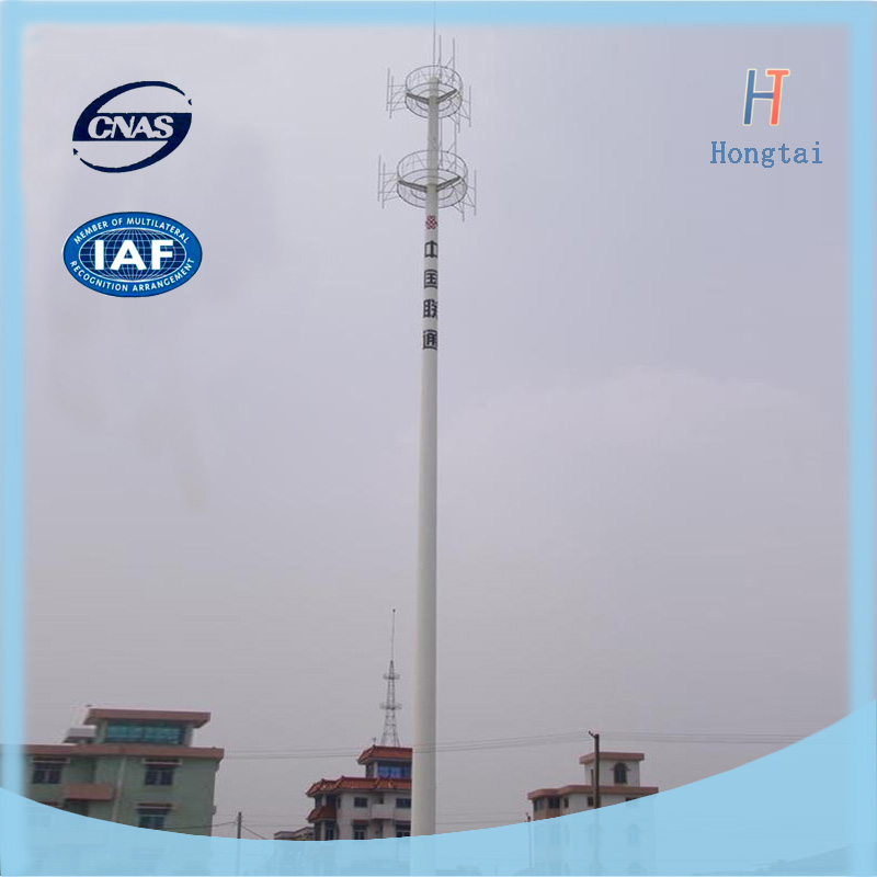 Sold 50m Q345B monopole antenna mobile communication tower